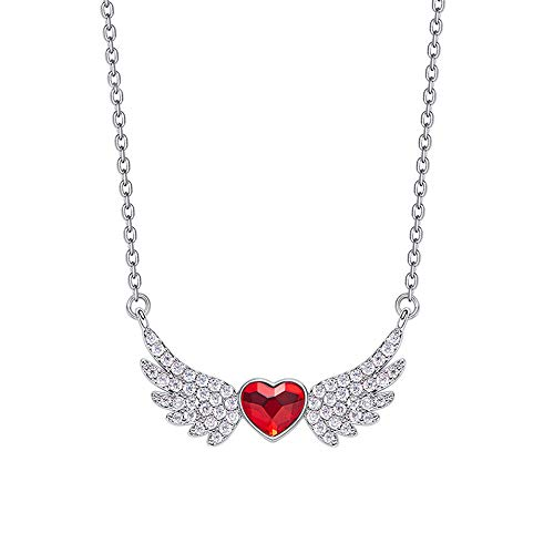 NIMUIL 925 Sterling Silber Halsketten für Damen Flügel Kettenanhänger Kette mit Herz Kristallen von Swarovski Frauen Mädchen