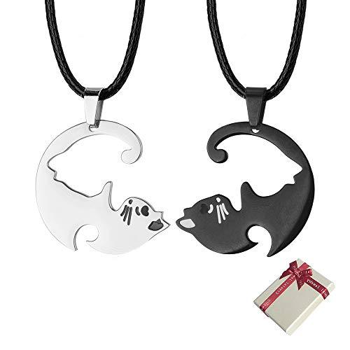 Huture Collar Gato Pareja Par de Collares con un Par Gatos Colgante Rompecabezas Mascota Yin Yang Collar Colgante Parejas para Los Amantes Amistad Parejas Día de San Valentín Set Regalos Aniversario
