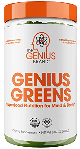 Genius Super Greens Powder Nootropic Supplement - Organic spirulina powder w/ lions mane, kale, and antioxidants | Amazing Green Superfood Juice & Smoothie mix for energy, immunity booster, & Vibrance