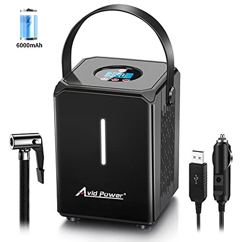 Avid Power Tire Inflator Air Compressor Portable, 12V Cordless Car Tire Pump with Rechargeable Li-ion Battery, 12V Car Power Adapter, Digital Pressure Gauge and USB Charging