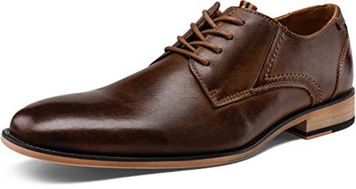 JOUSEN Men's Dress Shoes Leather Classic Formal Oxford Retro Plain Toe Derby Shoes (AMY612 Dark Brown 11)