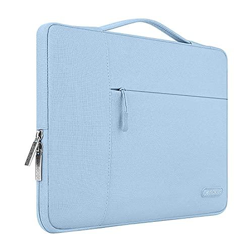 MOSISO Funda Blanda Compatible con MacBook Air 13-13,3 Pulgadas/MacBook Pro Retina/Ordenador Portátil, Poliéster Maletín Protectora Multifuncional Bolso,Aireado Azul