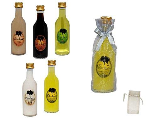 Lote de 25 Botellas de Licores Sol (Sabores a Elegir) en Bolsas de Tull Lisas. Detalles de bodas y Eventos. 12 cm. - 5 cl (Limoncielo)