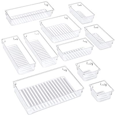 Puroma 10-pcs Desk Drawer Organizer Trays, 5 Different Sizes Large Capacity Plastic Bins Kitchen Drawer Organizers Bathroom Drawer Dividers for Makeup, Kitchen Utensils, Jewelries and Gadgets by Puroma