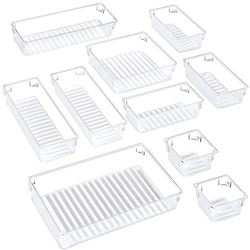 Puroma 10pcs Desk Drawer Organizer Trays 5 Different Sizes Large Capacity Plastic Bins Kitchen Drawer Organizers Bathroom Drawer Dividers for Makeup Kitchen Utensils Jewelries and Gadgets Clear