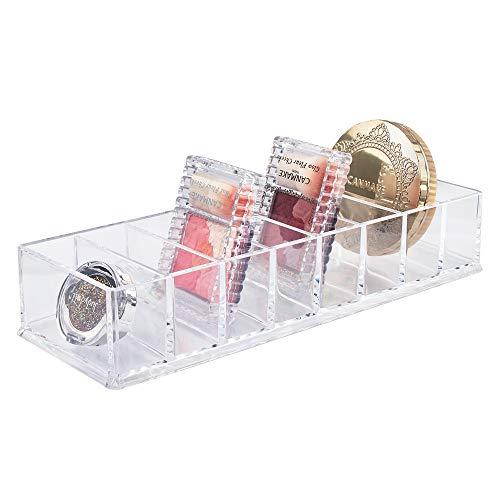Acryl Compact Houder Clear Make-up Organizer Lade Organizer met 8 Vakken voor Oogschaduw Blusher Compact Poeder Lipstick Dresser Slaapkamer Badkamer (25,5 * 9 * 4,7cm)
