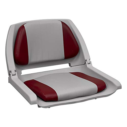 Wise 8WD139 Series Molded Fishing Boat Seat with Marine Grade Cushion Pads, Grey Shell, Grey/Red Cushion, (Model: 8WD139LS-017)