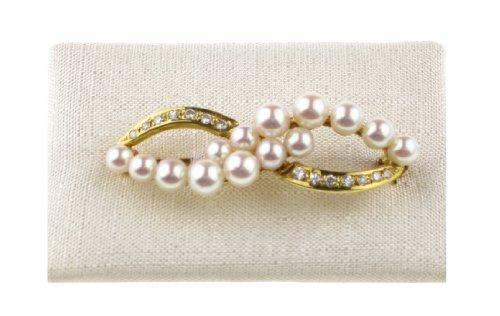 """c-c Damen Gold Brosche"""" Zuchtperlen - Diamant"""" 14kt Gelb Gold"""