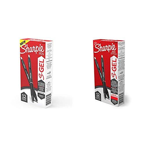 Sharpie S-Gel, Gel Pens, Medium Point (0.7mm), Black Ink Gel Pen, 12 Count & S-Gel, Gel Pens, Medium Point (0.7mm), Red Ink Gel Pen, 12 Count
