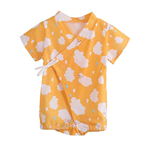 YWLINK Mono Nubes De Dibujos Animados ReciéN Nacido Bebé Ropa Traje De Escalada Encaje Mezcla De AlgodóN Bautismo De NiñOs Vestido De Fiesta Moda Linda CóModo Mono(Amarillo,0-3 meses/59)