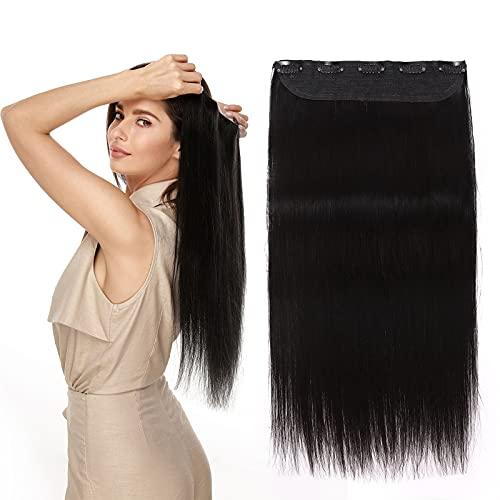 (20-60cm) Extension Capelli Veri Clip Fascia Unica #1 Nero Scuro Double Weft 90g Capelli Umani Lisci 45cm Clip in Extension Remy Hair 3/4 Full Head