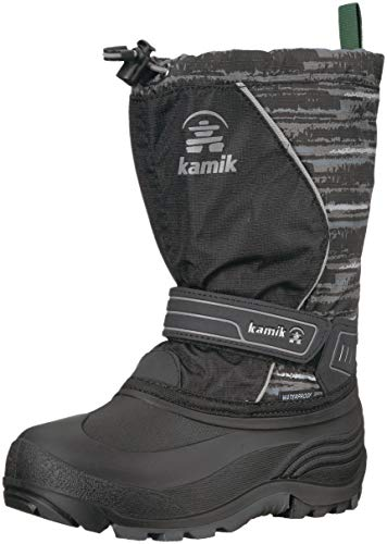 Kamik Boys' SNOWCOASTP Snow Boot, Black/Charcoal, 5 Medium US Big Kid