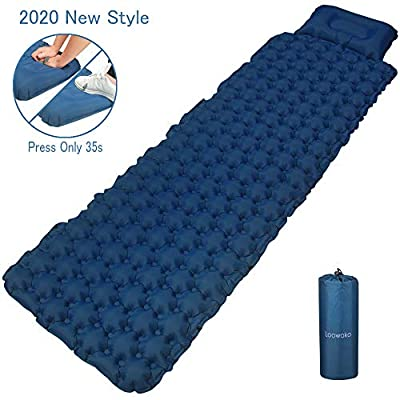 Loowoko Outdoors Camping Air Sleeping Ultralight Pad Mat - Foot Press Inflatable Backpacking Pad - Durable Waterproof Mattress Traveling Tent Hiking Sleeping Bags Compact Pad (blue1)