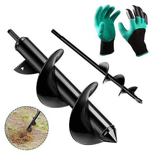 Auger Drill Bit, Garden AugerDrillBitfor Planting with Garden Genie Gloves, Garden Plant Flower Bulb Auger Fits Rocky Soil & Clay for 1.6x9in & 3x12in