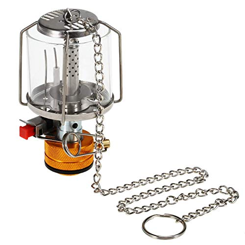Festnight Camping Lampe Gaslampe Tragbare Edelstahl Gaslaterne Piezo Ignition Mini Outdoor Lampe Licht,5 * 9.5 cm,180 g