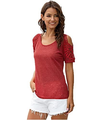 SLYZ Summer Ladies Fashion Cuello Redondo Crochet Hollow Color Sólido Camiseta De Manga Corta Top De Mujer
