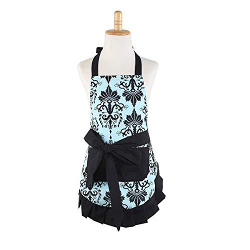 FirstKitchen Lovely Flower Pattern Aprons,Cotton Kids Girls Apron,Cooking Kitchen or Barbecue Apron Chef Bib with Pocket(Child)