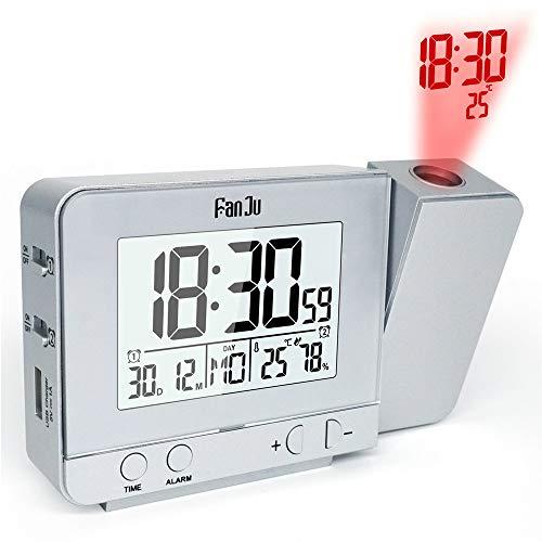yywl Alarm Klok Projectie Alarm Klok Digitale Datum Snooze Functie Backlight Draaibare Wekker Projector Multifunctionele Led Klok