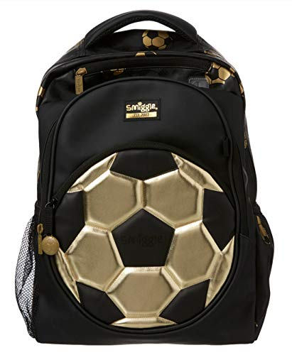 Smiggle Gold Kids School Backpack for Boys and Girls with Laptop Compartment and Dual Drink Bottle Sleeves   Football Print