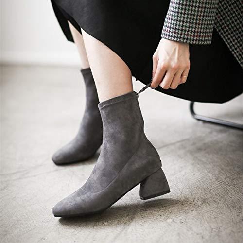 Shukun Enkellaarzen Martin Laarzen Vrouwelijke Hoge Hakken Vierkante Hoofd Sokken Laarzen Herfst En Winter Skinny Laarzen Women'S Laarzen Dikke Met