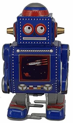 Robot Decorativo de Hojalata Azul Nave Espacial . Robots de Cuerda. Colección. Regalos Originales. Detalles para Cumpleaños, Navidad y Reyes. PR