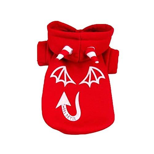 Disfraz De Perro De Halloween - Patrn de fantasma de Halloween Ropa para perros Sudadera con capucha luminosa Disfraces Trajes Sudadera clida Ropa para perros para fiesta de Halloween Talla XL Negro