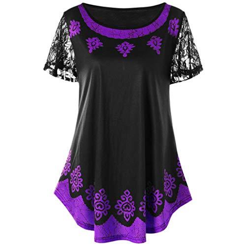 TWGONE vestido túnica para mujer para llevar con leggings talla grande de encaje estampado tribal playera blusa,  Púrpura-A, XXXXL