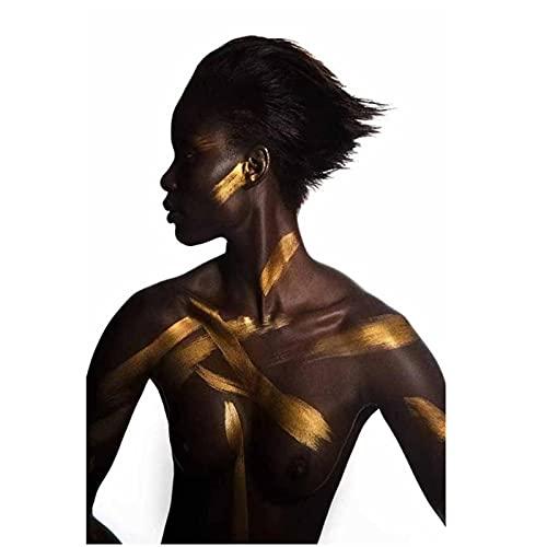 Pintura de mujer africana negra y dorada sobre lienzo, carteles e impresiones, imagen artística de pared Scandinan para sala de estar, decoración del hogar, 60x90 cm sin marco