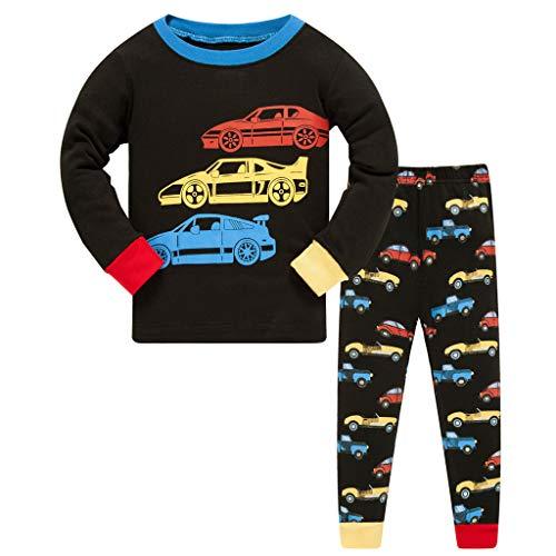 HIKIDS Jungen Schlafanzug Lang Pyjamas Sets Kinder Autos Kleinkind Zweiteiliger Pjs...