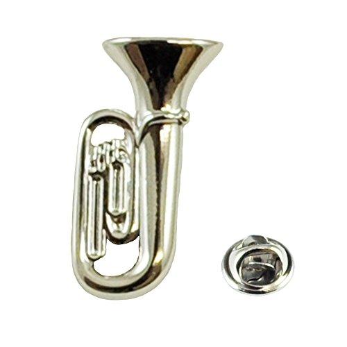 Silver Tuba Musical Instrument Lapel Pin Badge - Rhodium Plated