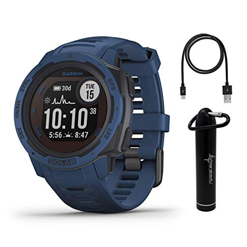 Garmin Instinct Solar Premium GPS Smartwatch with Included Wearable4U Power Bank Bundle (Tidal Blue)