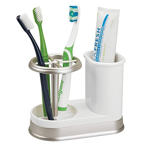 mDesign Decorative Bathroom Dental Storage Organizer Holder Stand for Electric Spin Toothbrush/Toothpaste - Compact Design for Countertop and Vanity, Holds 4 Standard Brushes - White/Matte Satin