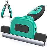 Ruff 'n Ruffus Deshedding Brush + Free Bonus Nail Clippers   Reduces...