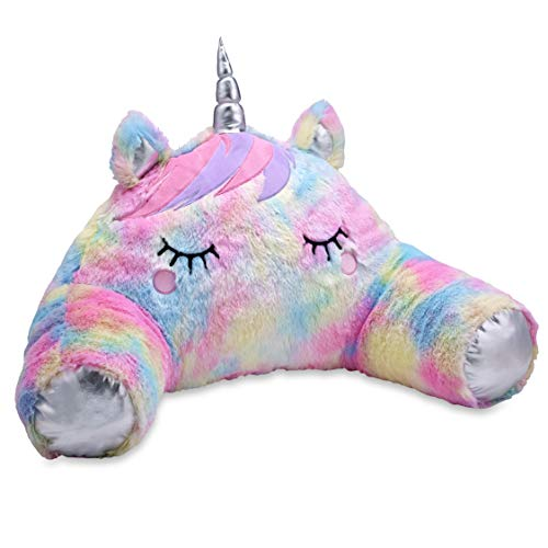 TOP TRENZ Furry Unicorn Backrest Lounge Pillow - Big Backrest Boyfriend Pillow with Arms for Reading, Gaming, or Watching TV - Soft and Comfortable Pillow for Kids, Teens and Adults