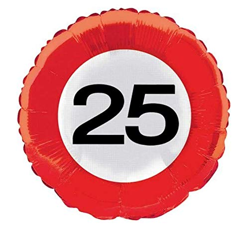 Folat 45cm Traffic Schild Geburtstag Party Folienballon–25. Geburtstag