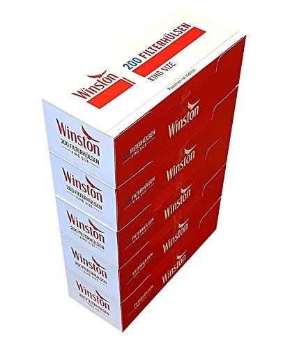 Packung mit 5 Stück 200 Winston classic King Size Filterhülsen
