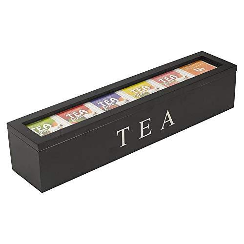 basisago Boite à Thé en Bois Boîte à thé Décorative en Bambou,Coffret pour Sachets de Théà 6 Compartiments Ajustables pour Le Rangement des Sachets de Thé et Autres Accessoires