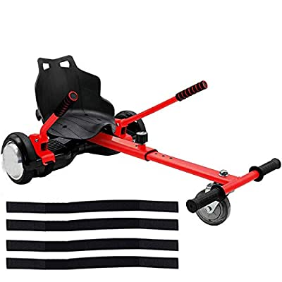 ApexOne Adjustable Hoverkart with Seat for 6.5'', 8'' and 10'' Hoverboard Self Balancing Electric Scooter, Gokart Hovercart Attachment [Red]