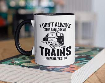 Not Branded Lustige Zug-Tasse, Züge, Eisenbahn-Kaffeetassen, Zugbeobachtung, Geschenk, Geschenke für Zugleiter, Camp Tasse, Tumbler