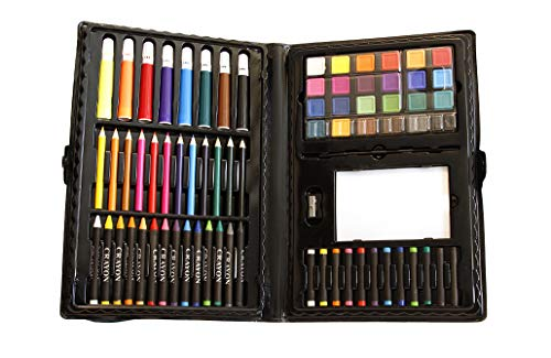 100 Piece Kids Art Set. 12 color pencils 14 crayons 8 markers 24 watercolor paints 12 oil pastels 26-page drawing pad 1 paint palette 1 plastic brush 1 pencil sharpener 1 plastic storage case