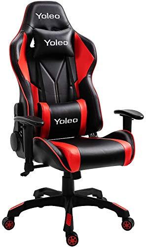 YOLEO Silla Gaming Profesional, Silla Ajustable Giratoria para Juegos, Poilipiel, Ergonómica, Carga Máxima de 150 kg, Negro-Rojo