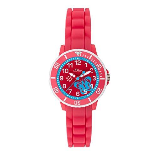 s.Oliver Mädchen Analog Quarz Uhr mit Silikon Armband SO-3776-PQ