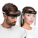 Hard Maschera di protezione per il viso con 2x Visiera rimovibile, certificato medico, anti-appannamento, regolabile, Face Shield Made in Germany -Nero/Rosa