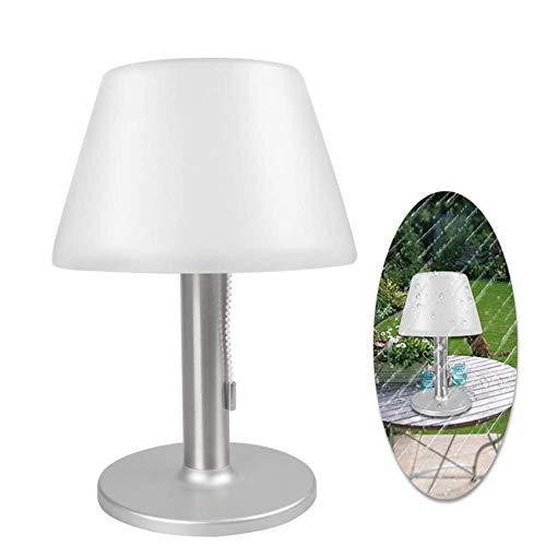 paletur88 LED Solar Tischlampe, 10 LED`S Wasserdicht Outdoor Garten Solar Licht Weiß 6500K Tischlampe, Edelstahl Nachtlicht für Bettseitig, Schlafzimmer, Wohnzimmer, Essen - Silbern, Free Size