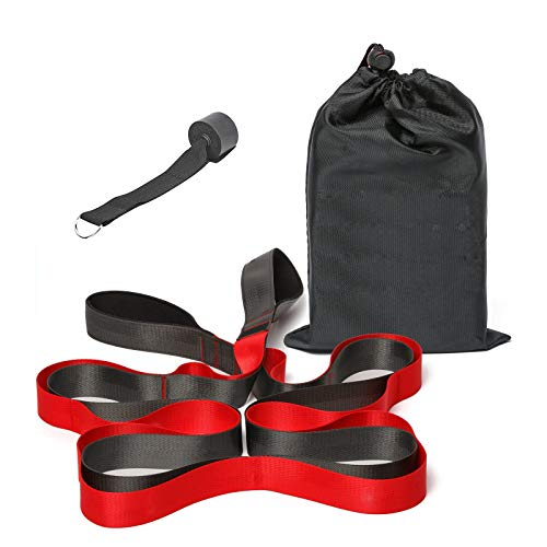 Cinturón de yoga elástico con trabillas en la puerta, 12 vueltas, cintura elástica para yoga, piernas, ejercicios de fitness, pilates y gimnasia, cinturón elástico no elástico