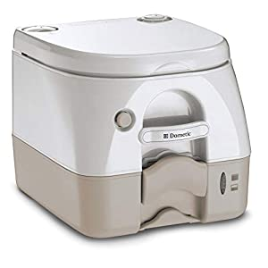 "Push-button flush clears bowl instantly 2. 6 gallon (9. 8 liter) waste tank capacity Fittings available for permanent installation (sold separately) Dimensions: 13. 5"" D x 12. 5"" H x 15. 5"" W Toilet Color: Tan"