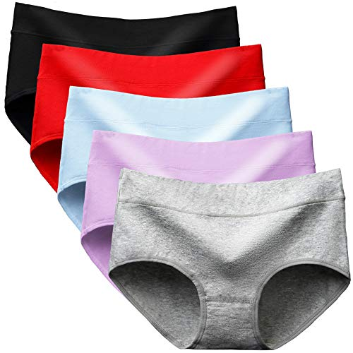 Alleen Damen Baumwolle Unterhosen Super Atmungsaktive Einfarbig Nahtlose Panties, 5er Pack (XL, Mehrfarbig)