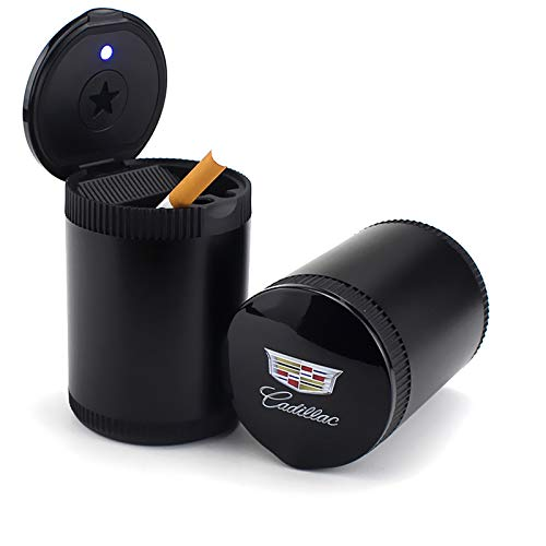 TK-KLZ Detachable Car Cigarette Ashtray with Blue LED Light Indicator Smokeless for Cadillac Car Cup Holder