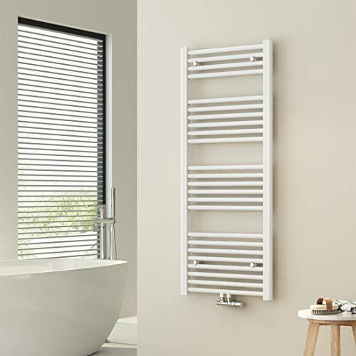 WELMAX Weiß Badheizkörper 50 x 120 cm Handtuchtrockner 643 Watt Leistung Heizkörper Bad Mittelanschluss Handtuchheizkörper