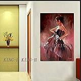 crjzty DIY Pintar por números Pintura al óleo Abstracta Figura Pintura Salto en Vestido Rojo Figura de niña Pintura al óleo Pared en el Lienzo Sala de Estar decoración del hogar-xCM_KH